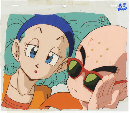 Original Dragon Ball Z Anime Cel - Krillin & Bulma