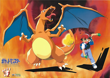 Original Pokemon - Ash and Charizard - Vintage Anime Poster