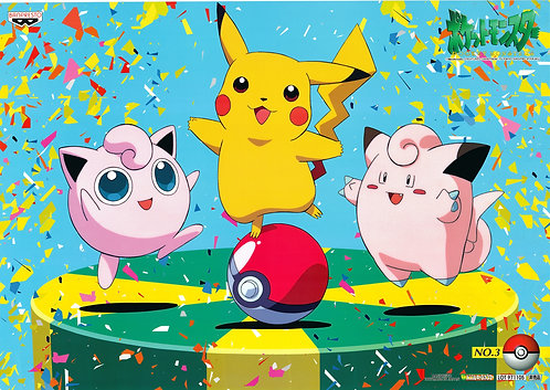 Original Pokemon: Pikachu, Jigglypuff, Clefairy Poster