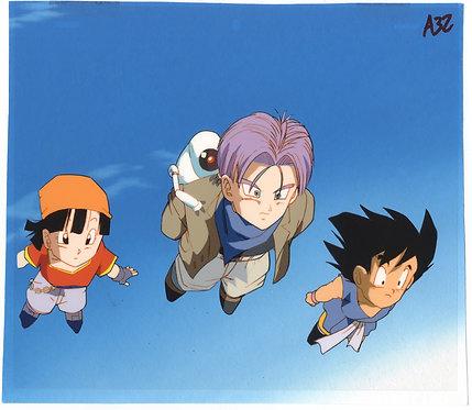 Original Dragon Ball GT Anime Cel - Goku, Trunks, Pan & Gill