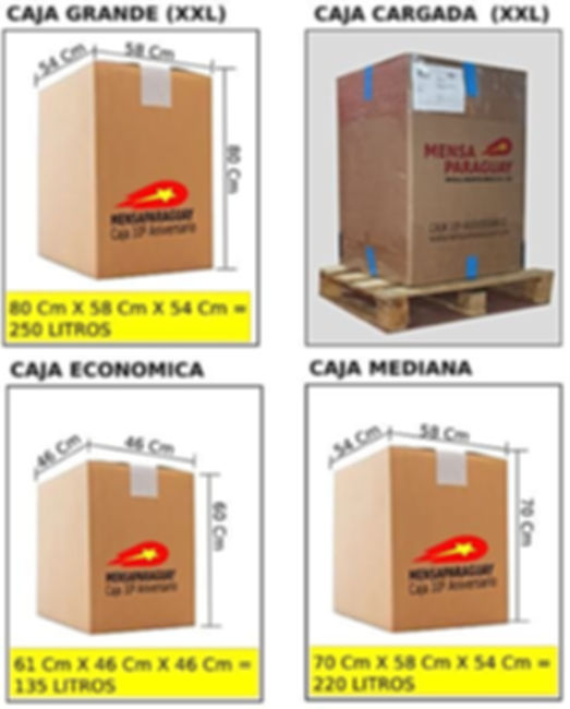 medidas cajas a Paraguay
