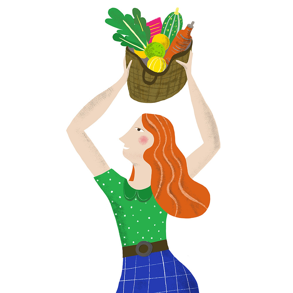 girl with basket of fruit and veg
