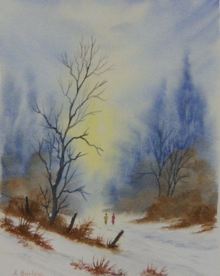 'Winter Walk' Original watercolour - framed