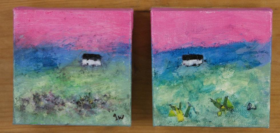 Mixed media small box canvas - £40 ea
