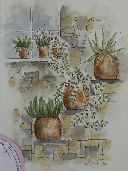 Watercolour pots - framed