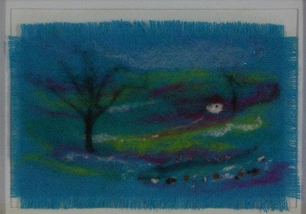 Framed felted landscape picture