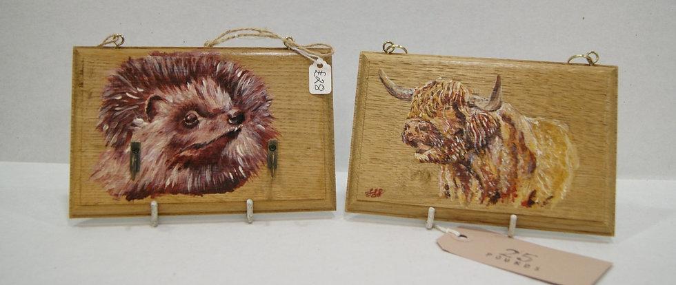 Original oil plaques - Hedgehog £28, Highland Cow £25