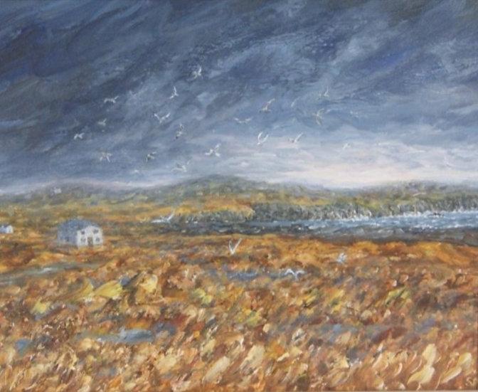 'Martha feeds the gulls'    Oil painting