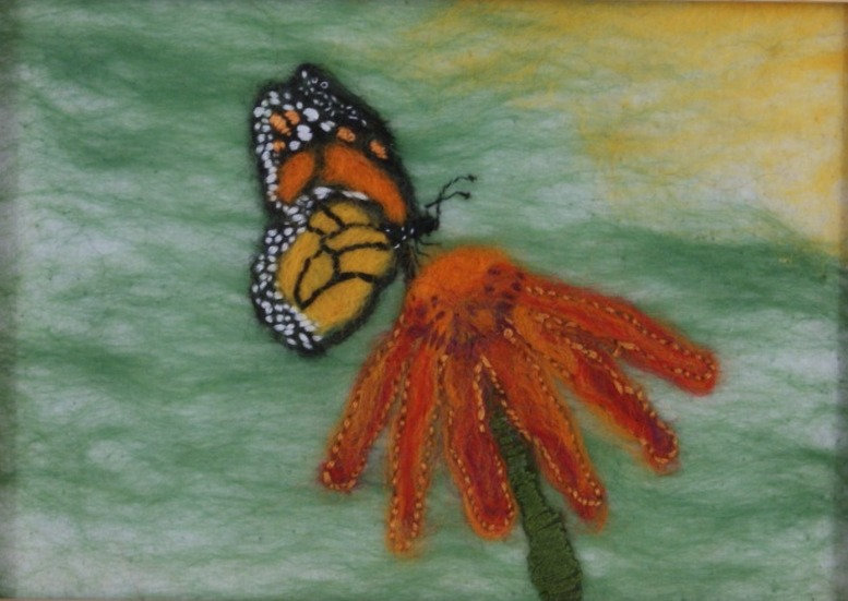 Butterfly flower - felted picture