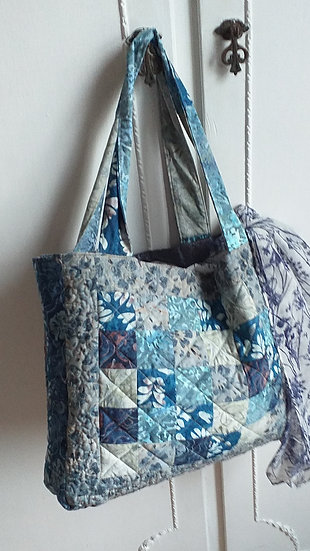 Patchwork quilted bag by Maxine Pigram