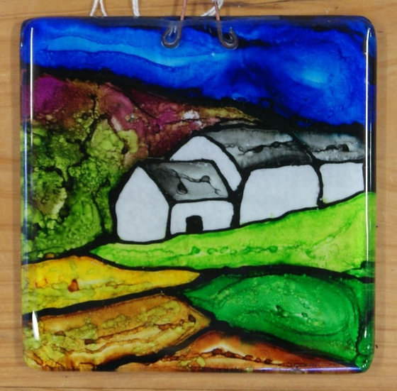 Alcohol Ink Glass Small Hanging Plaque