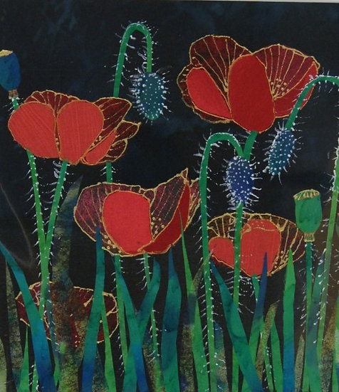 Poppys - Original silk applique picture - mounted