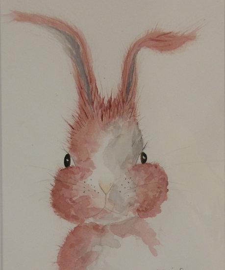 'Rabbit' Original Watercolour - mounted A4