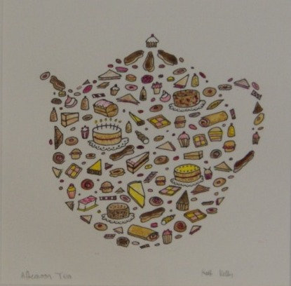 'Afternoon Tea' - original pen drawing - framed