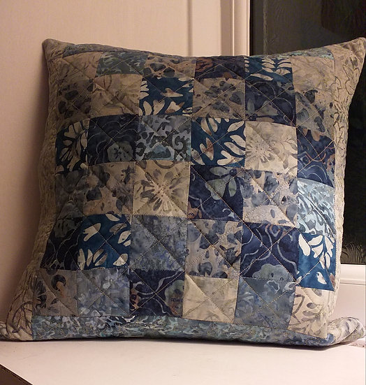 Patchwork and Quilted Cushion by Maxine Pigram