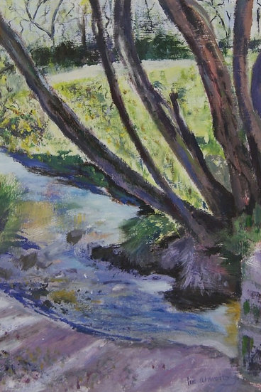 River Scene - original framed oil