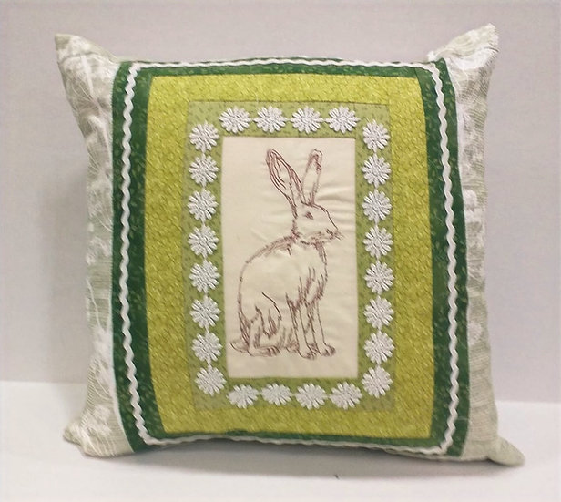 Hare Embroidered Cushion