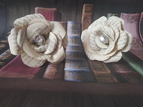 3x Flower hair pins, book hair accessory, wedding hair pin decoration