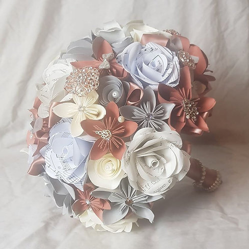 Emma - Paper flower bridal bouquet, mixed origami and paper roses, bridal brooch