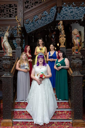 Autumnal bridal with Hogwarts house bridesmaids