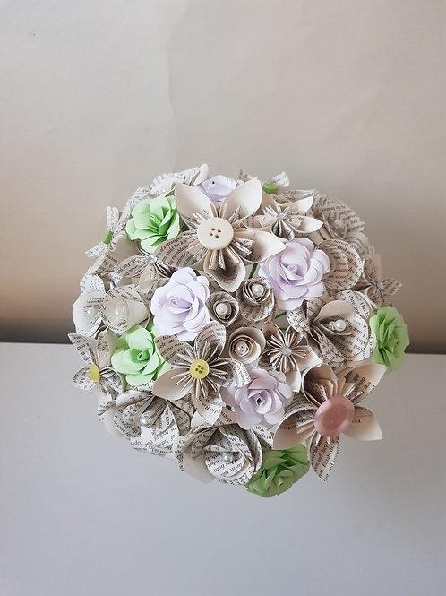 Sara - Spring book flowers, Bridal bouquet, Wedding keepsake