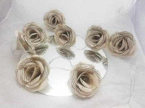 Hazel - Book rose fairy lights, Wedding table centrepiece decoration
