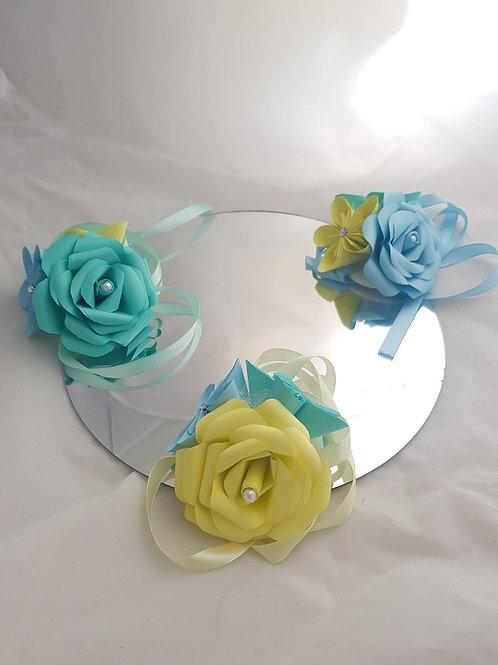 Sage - Wrist corsage, Pastel paper flower corsage