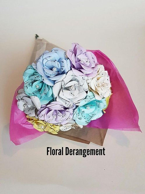 Rainbow Song sheet Bouquet, Mother's day, First Anniversary, Custom Paper Roses
