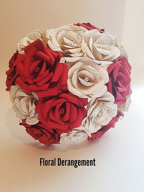 Ruby - Classic bridal bouque, Bridal paper flowers
