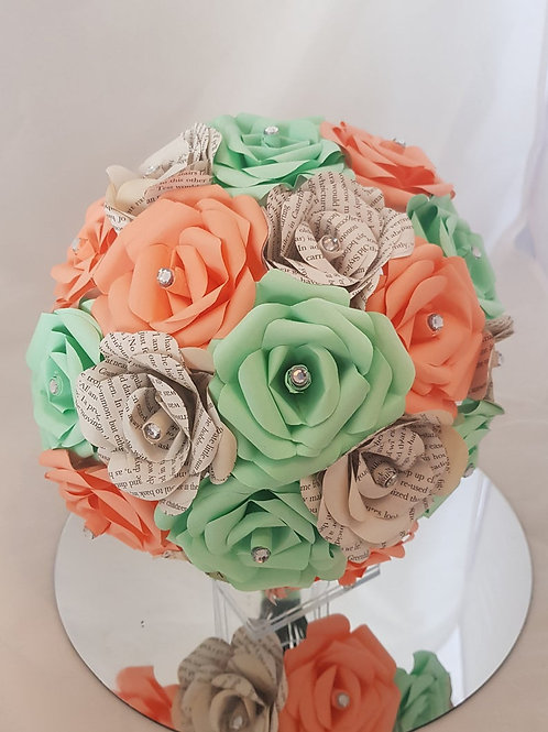 Piper - Peach and mint green bridal bouquet, Book flowers, Paper wedding flowers