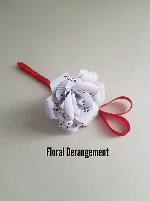 Reed - Song sheet buttonhole, Groom and Groomsmen flowers