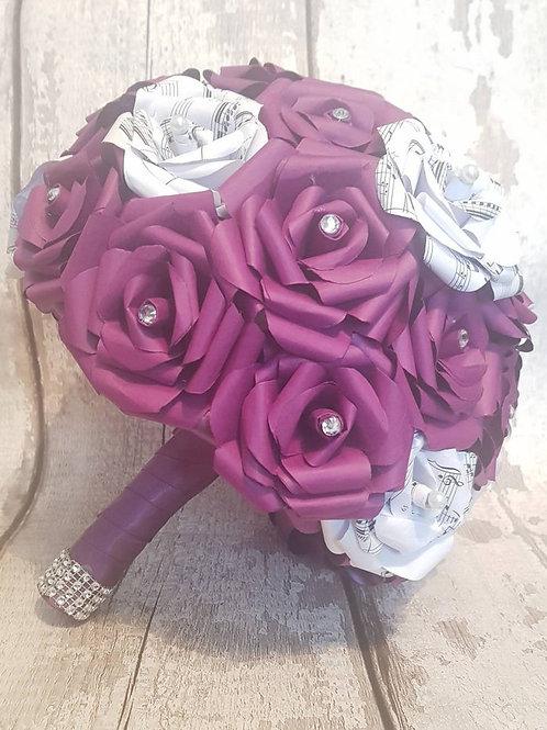Celeste - Plum paper flowers, Purple bridal bouquet, Song sheet roses