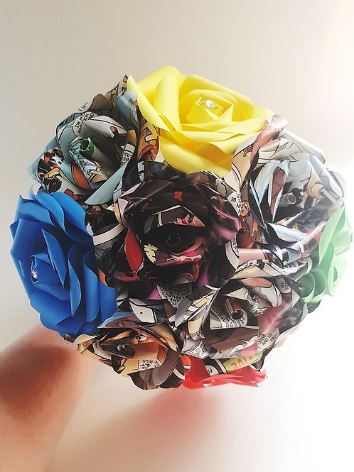 Jean - Comic book bouquet, Superhero wedding, Geek bridal flowers