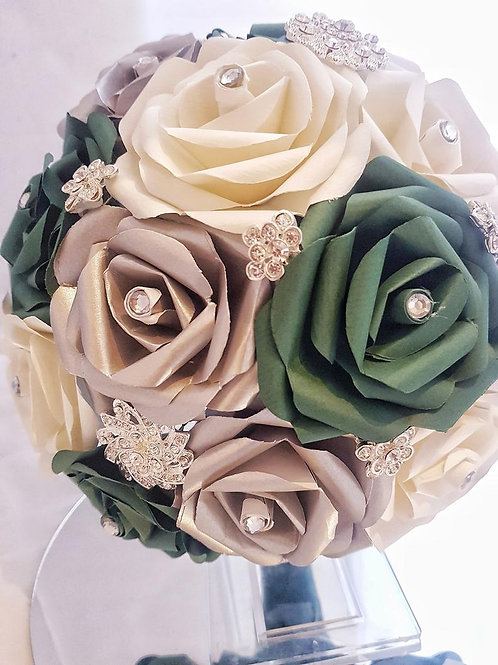 Megan - Emerald green bridal bouquet, Silver and green paper flowers & brooches