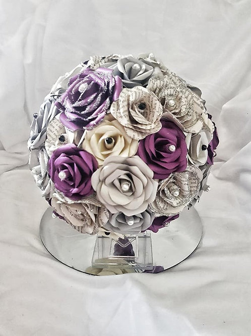 Riley - Purple grey book bouquet, Paper flowers, Goth bride