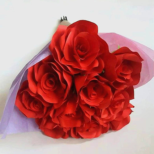 Bouquet of red roses, Paper flowers, Mother's day bouquet, First anniversary