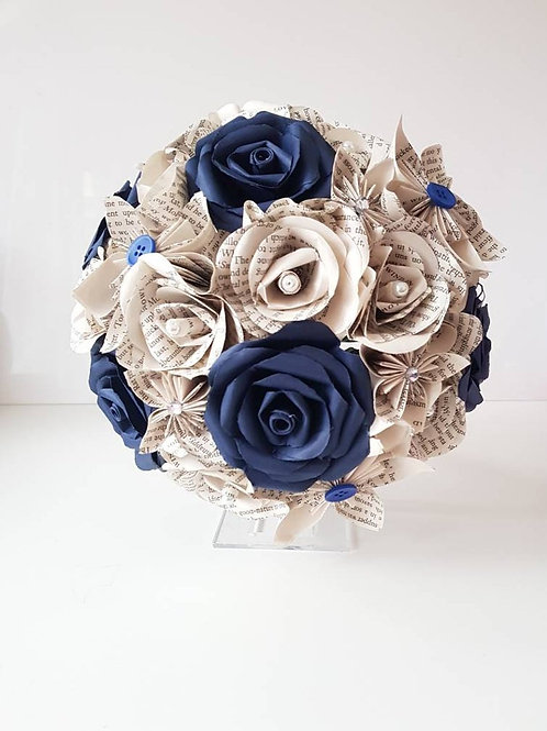 Diana - Navy blue and book bouquet, Bridal bouquet, Wedding flowers