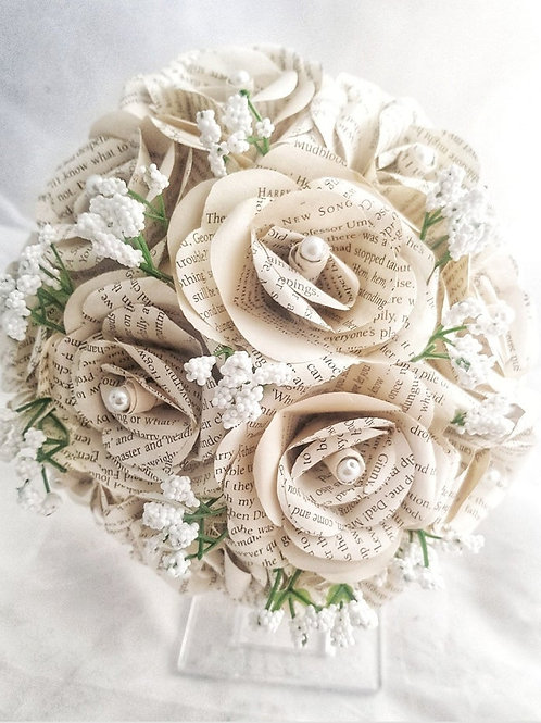 Grace - Book bouquet gypsophilia, Baby's breath bridal, Paper flowers