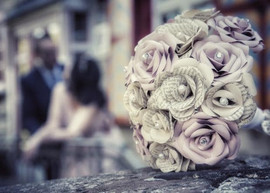 Blush and book bridal bouquet