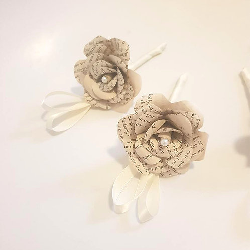 Wren - Book flowers buttonhole, Groom's boutonniere, Book wedding flowers