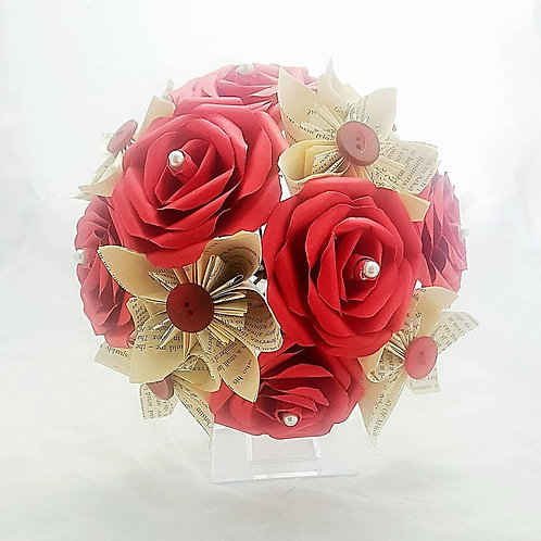 Marie - Bridal bouquet, Book rose and origami bouquet