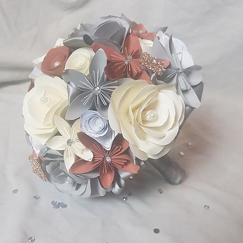 Emily - Paper flower bridesmaid bouquet, mixed origami and paper roses