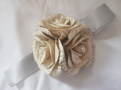 River - Book rose corsage, Wrist corsage, Wedding flowers, Book roses