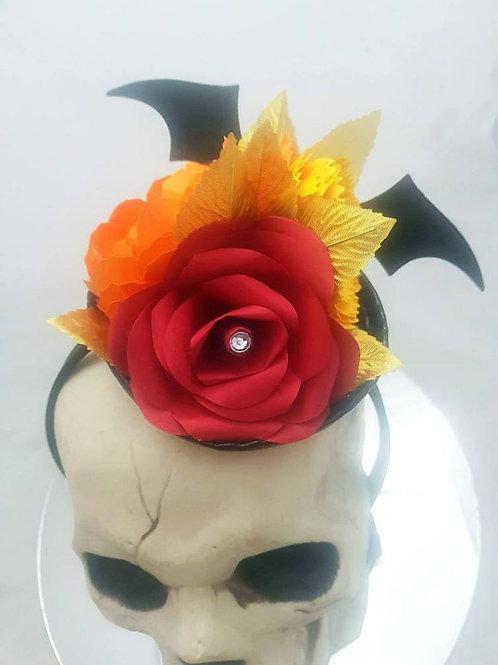Gothic hair accessory, Paper flowers, Halloween wedding, Wedding hair accessory