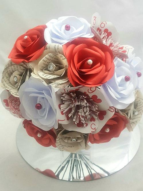 Queenie - Alice in wonderland bridal bouquet, Playing card flowers, Book bouquet