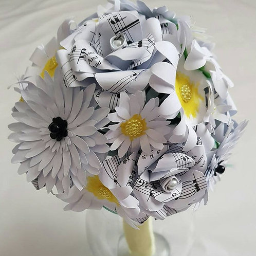 Daisy - Daisy bridal bouquet, Paper daisy wedding flowers
