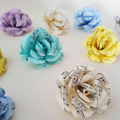10x Loose paper Flowers, Paper song sheet roses, Cake decoration