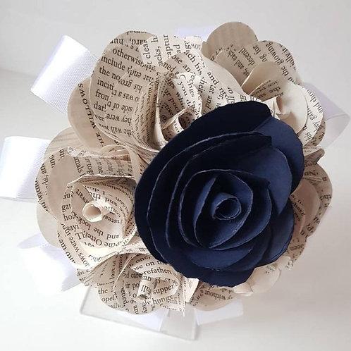 Gwen - Book and navy bouquet, Paper flower bridesmaid bouquet