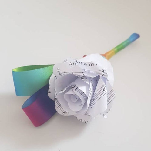 Rainbow - Song sheet rose buttonhole, Grooms buttonhole