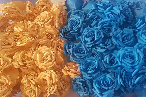 100x Beauty and the Beast roses, Paper flowers, Song sheet, Tale as old as time
